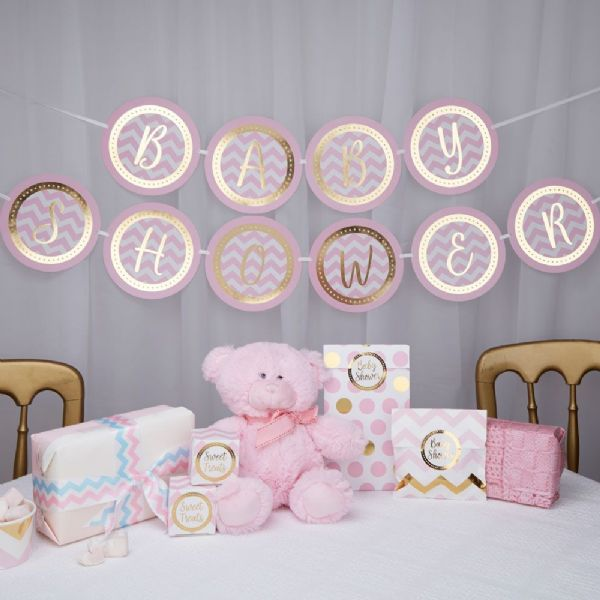 Pattern Works Pink Baby Shower Bunting
